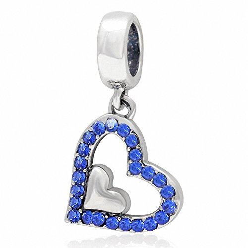 (ABUN Sparkly Crystal Heart Charms 925 Sterling Silver Heart in Heart Birthstone Charm for Euroepan Bracelet (Sapphire September Stone))