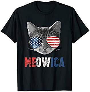 4th of July  Meowica American Flag Cat T-shirt   Size S - 5XL