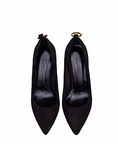 Shoes Heels Mouth Suede Black Women's Metal coollight Pumps Buckle Shallow Kitten Pointed Stiletto Heel qz0wPt