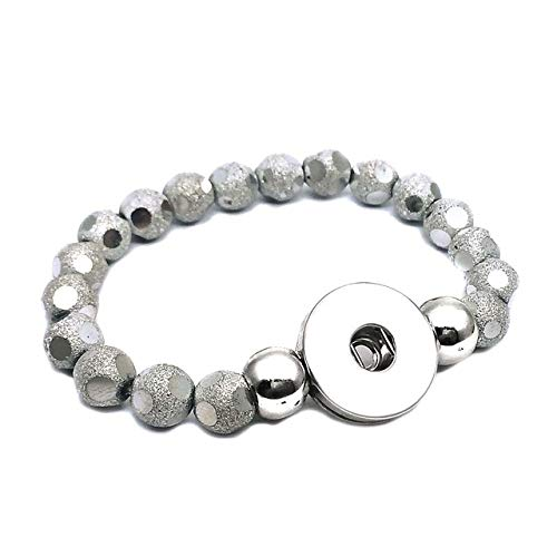 Gabcus New 286 Interchangeable Candy Colors Expandable Stretch Acrylic Glass Bead Bracelet fit 18mm Snap Button Jewelry for Women - (Metal Color: Silver)