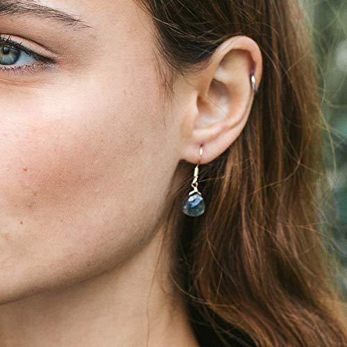 Labradorite crystal teardrop dangle earrings in 14k gold fill - Gold Labradorite Earrings