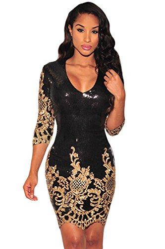 4 vestido mangas Sequins Dorado Silver Negro Elegant Bodycon Victorian 3 Mujer wqzTYT
