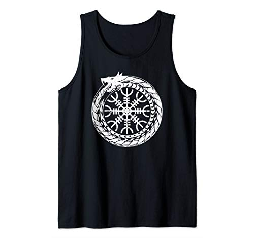 The Helm of Awe Viking Protection Symbol Runes Tank Top