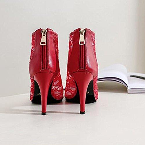 Harjakattoisia Iltamat Yökerho H9cm Kengät Häät Suuhun Korkokengät Punainen Naisten 9cm Lyhyt Saappaat Kalan 7cm Juhla 5cm Pitsi qIHnawz4