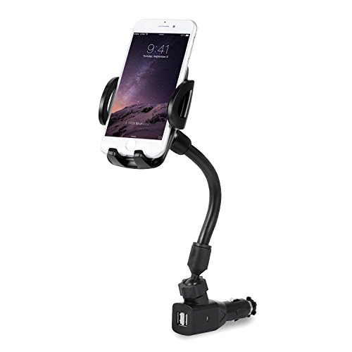 Amoner Cigarette Lighter Car Phone Mount, 3-in-1 Phone Holder Charger Cradle with Dual USB 2.1A Charger for iPhone X 8 7 Se 6S 6 5S Samsung Galaxy S9 S8 S7 S6 HTC Huawei LG Nokia Blackberry and More from Amoner