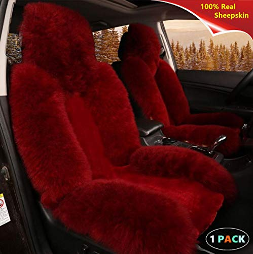 (Sisha Natural Australian Sheepskin Wool Car Seat Cover for Front Seat, Soft, Fluffy, Heavy Duty, Luxury, Winter Warm Seat Cushion Cover Fits Most Car, Truck, SUV Seats Wine)