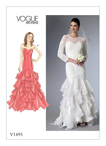 Vogue Patterns V1495A5 Women's Evening Dress and Bridal Gown Design Sewing Pattern, Sizes 6-14