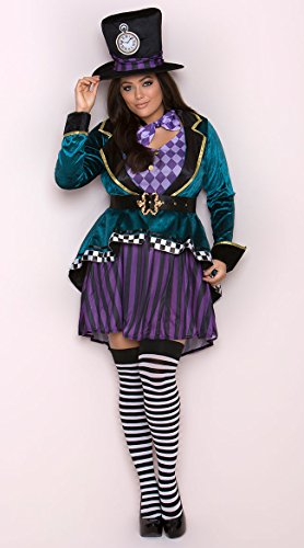 Leg Avenue Women's Plus Size 4 Pc Delightful Hatter Costume, Multi, 3X-4X