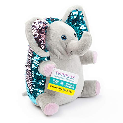 Creativity for Kids Mini Sequin Pets - Twinkles The Elephant Plush Toy - Elephant Stuffed Sequin Animal