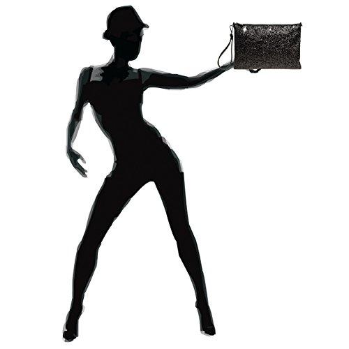 format à TA341 pour femme Clutch Noir grand CASPAR paillettes naXOWqxFaf