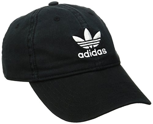 (adidas Men's Originals Relaxed Strapback Cap, Black/White, One)