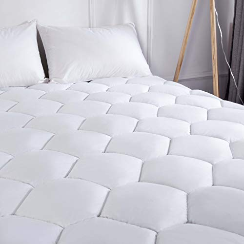 Charm Heart King Mattress Pad Cover - Cooling Pillow Top Cotton Quilted Mattress Pad with 8-21 Inches Stretches Deep Pocket Fits King Size Mattress Topper