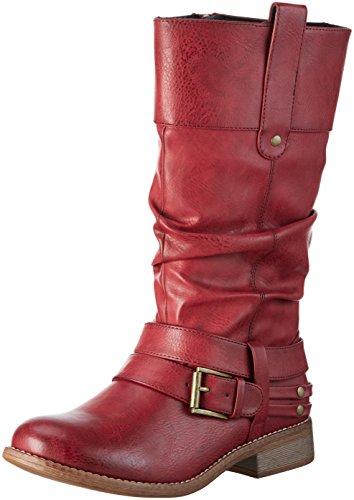Rieker 95678 - Botas altas para mujer Rojo (wine/35)