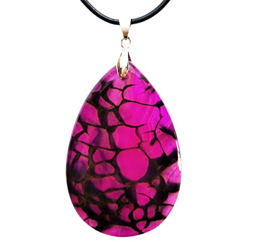 "Agate Pendant Necklace with 18"" Metal Chain (Teardrop shape - Pink) (Pendant Jade Pink Jewelry)"