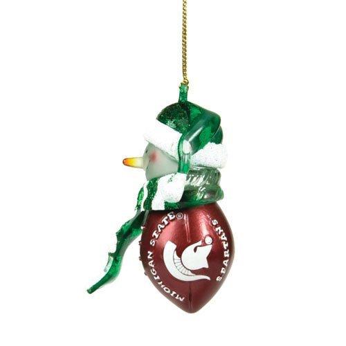 (Michigan State Spartans Striped Acrylic Snowman Ornament(1 Ornament) )