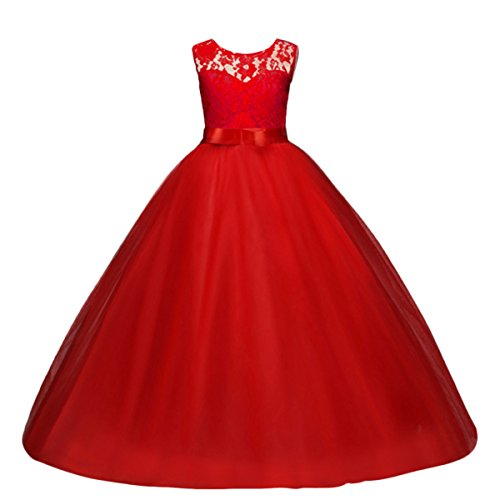 Yaphyee Flower Girls Sleeveless Long Pageant Dresses Maxi Lace Gown Kids Formal Wedding Bridesmaid Princess Dress Big Girls Summer First Communion Party Prom Puffy Tulle Skirt Red Size 13-14 Years -