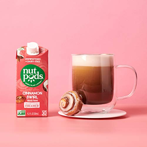 nutpods Cinnamon Swirl, Unsweetened Dairy-Free Liquid Coffee Creamer Made From Almonds and Coconuts (3-pack)