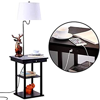 Brightech - Madison LED Floor Lamp with USB Charging Ports - Mid Century Modern Bedside Nighstand Table - End Table with Shelves for Living Room Sofas - White Shade