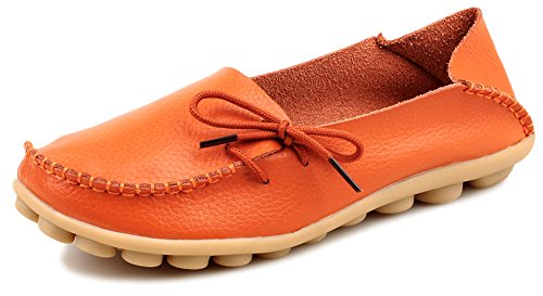 Kunsto Women's Leather Casual Loafer Shoes