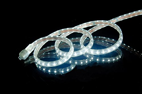 CBConcept UL Listed, 65 Feet,Super Bright 18000 Lumen, 6000K Pure White, Dimmable, 110-120V AC Flexible Flat LED Strip Rope Light, 1200 Units 5050 SMD LEDs, Indoor/Outdoor Use, [Ready to use] Commercial Strip Light