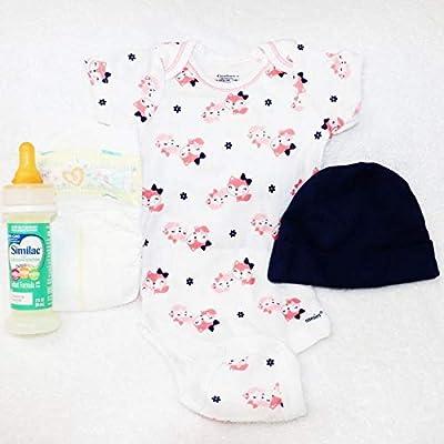 Reborn Baby Doll Girls Onesie Hat Fake Milk Formula Bottle Modified Sealed Nipple Diaper Set: Toys & Games