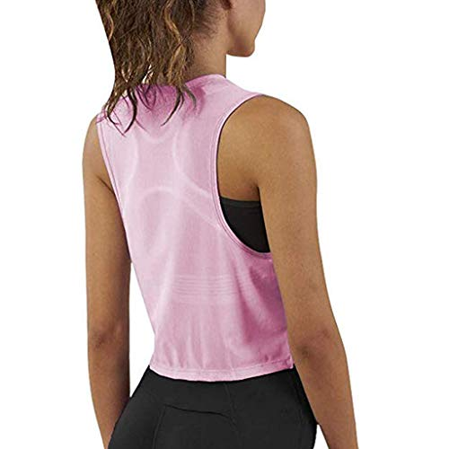 iZHH Shirt for Women Crop Top Sleeveless Racerback Workout Gym Solid Shirt Yoga Athletic Tank Pink by iZHH (Image #2)