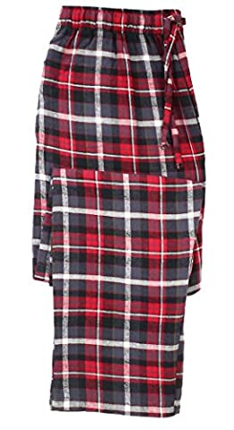 Canyon Guide Outfitters Men's Cotton Flannel Plaid Sleep Lounge Pajama Pants (Large, Charcoal/Red) - Canyon Guide