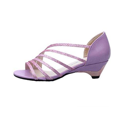 bescita Outdoor Fashion Ausschnitte Frauen Sandalen Open Toe Niedrige Keile Sommer Schuhe Badeschuhe (38, Lila)