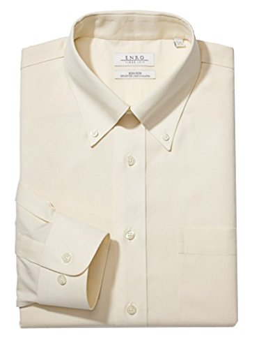 Enro Men's Classic Fit Solid Color Button Down Collar Dress Shirt (Pack of 2) (Ecru, 18