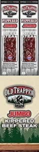 Old Trapper Peppered Kippered Beef Steak | Traditional Style Real Wood Smoked Keto Snacks | Healthy Protein Packed Snacks | 2 Ounce (Pack of 12)