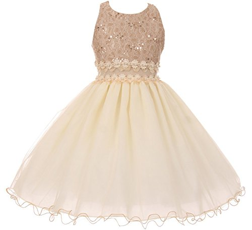 Big Girls' Sleeveless Glitters See Through Tulle Lace Flower Girl Dress Taupe 14 (C17B07)
