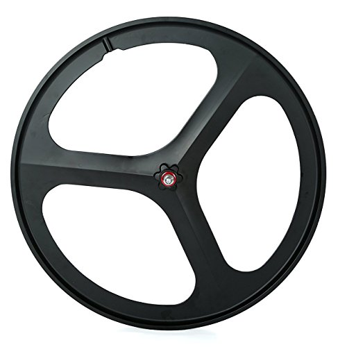 SWAGERWA 3 Spoke Wheel 700c Mag Alloy Wheel Bike Tri Spoke Wheel Front/Rear for Fixed Gear/Single Speed/Track Bike Flip-Flop Rims (Rear)