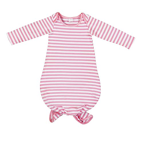 BubbleColor Baby Sleeper Gown Floral Striped Knotted Nightgowns Baby Soft Organic Cotton Sleep Gown Sleepwear Pajamas for Infant Toddler Girl and Boy (Pink Stripe, S:0-6 Months)
