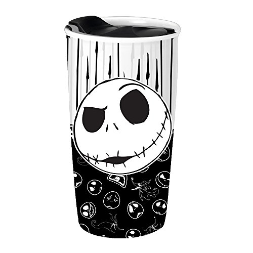 Silver Buffalo NB11263R Disney Nightmare Before Christmas Jack with Bones Ceramic Travel Mug, 10-Ounces, black and white