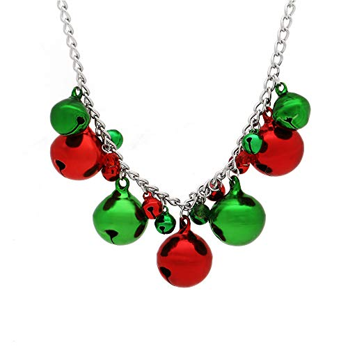 C&L Accessories Christmas Jingle Bell Necklace X-Mas Holiday Cute Necklace for Women Girls, Handmade Festival Christmas Jewelry Gift