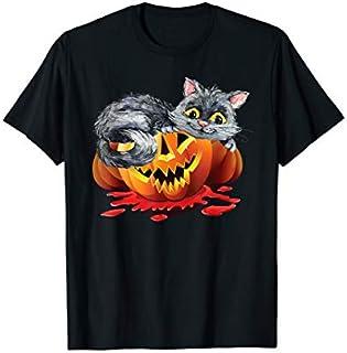 Funny Halloween Cat Costume Pumpkin Jack-O-Lantern T-shirt   Size S - 5XL