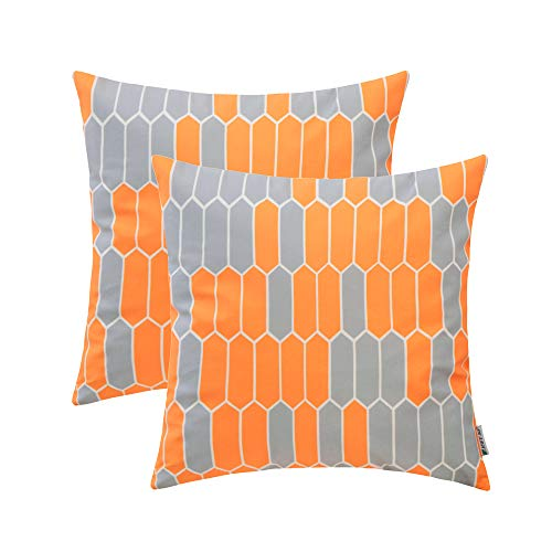 HWY 50 Comfy Throw Pillows Covers Set Cushion Cases for Couch Sofa Bed Orange Simple Decorative Geometric Print 18 x 18 inch Pack of 2