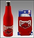 SET OF 2 ARKANSAS RAZORBACKS CAN & BOTTLE KOOZIE COOLER For Sale