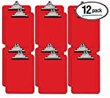 Red Plastic Clipboards, 12 Pack, Durable, 12.5 x 9 Inch, Standard Metal Clip, by Better Office Products, Red, Set of 12