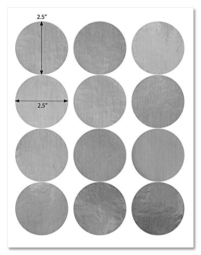 Waterproof Silver Foil 2.5 inch Diameter Round Labels for Laser Printers with Template and Printing Instructions, 5 Sheets, 60 Labels (CS25)