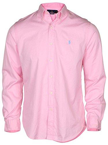 Polo Ralph Lauren Mens Solid Poplin Sport Shirt (S, Pink)