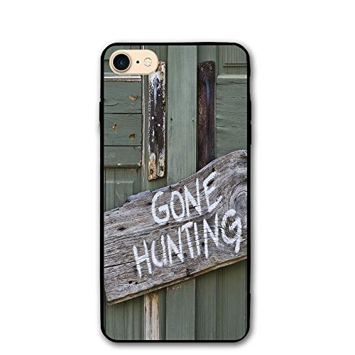 Haixia IPhone 7/8 Shell 4.7 Inch Hunting Decor Gone Hunting Written On Wooden Board Old Worn Out Cottage Door Seasonal Hobby Decorative ()