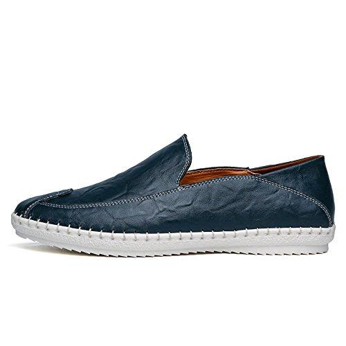 38 Color Casuales de Sunny Barco conducción tamaño Moda Hombre Antideslizante de PU para EU Mocasines Zapatos Azul Mocasines Azul Cuero Slip amp;Baby de Color de sólido on la wqw7T4
