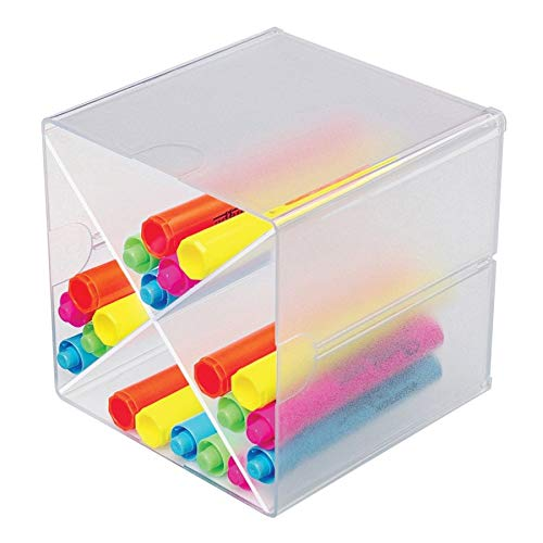 Deflecto Stackable Cube Organizer Cross Dividers, Desk and Craft Organizer, Clear, Removable Dividers, 6