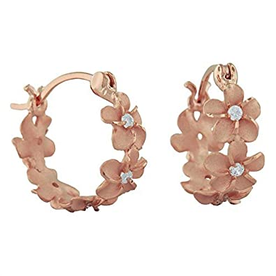 14kt Rose Gold Plated Sterling Silver 7mm Plumeria Hoop Earrings