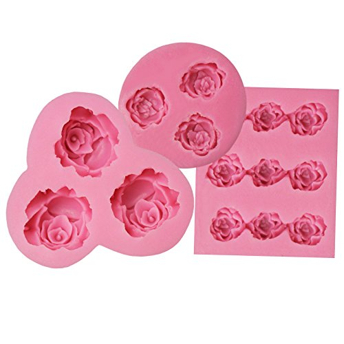 Funshowcase Mini Sizes Roses Collection Fondant Candy Silicone Mold for Sugarcraft Cake Decoration, Cupcake Topper, Polymer Clay, Soap Wax Making Decoration, Crafting Projects, 3 Count (Silicone Mold Wax)