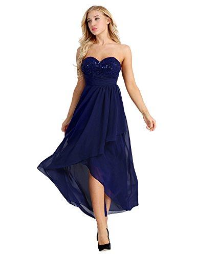 9a95d511a23 Langes Design Marine Damen Elegant Abendkleider Chiffon Blau Kleider  Cocktailkleid Hi-lo Hochzeit Tanz Pailletten ...