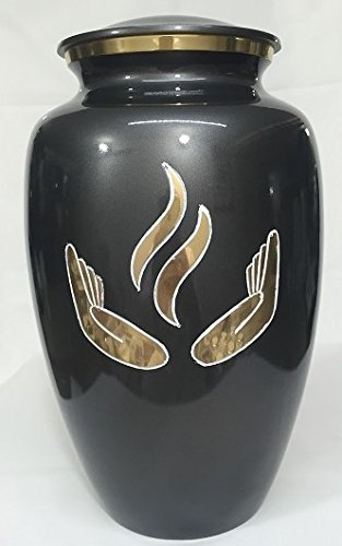 Cremation Urn - Hands of Prayer Funeral Urn for Human Ashes - Large Adult Size Burial Urn - 100% Brass (Black-Gold) by Ansons Urns