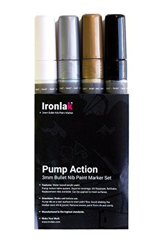 Ironlak Pump Action  3mm Chisel Tip Acrylic Paint Marker Pen Sets (4 Pack, Color Set)