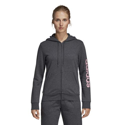 adidas Women's Essentials Linear Full-zip Hoodie, Dark Grey Heather/True Pink, X-Small by adidas